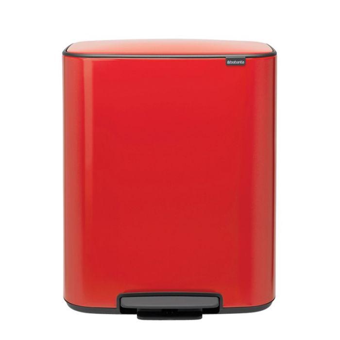 Bo Pedal 60 Litre Single Compartment Bin - Passion Red
