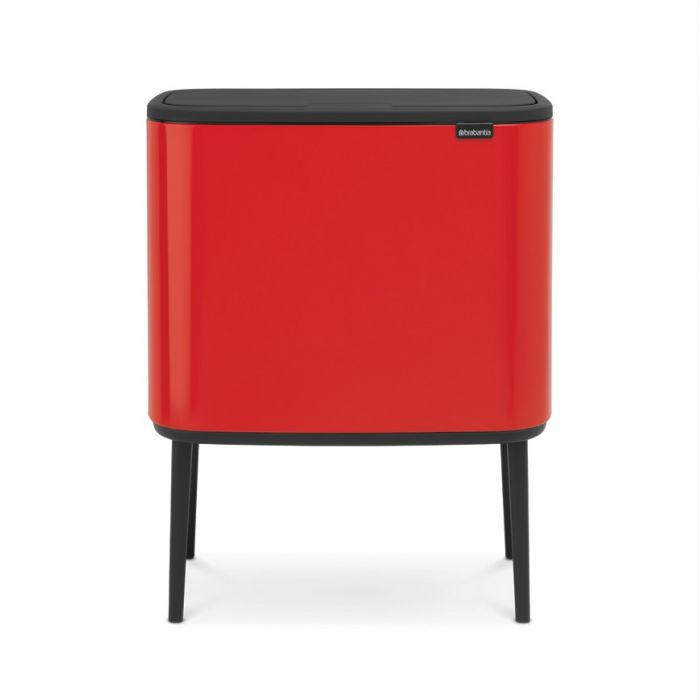 Bo Touch Triple Recycling Bin 33 Litres - Passion Red