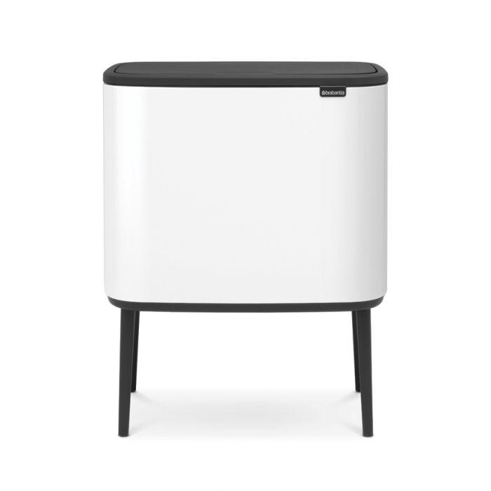 Bo Touch Triple Recycling Bin 33 Litres - White