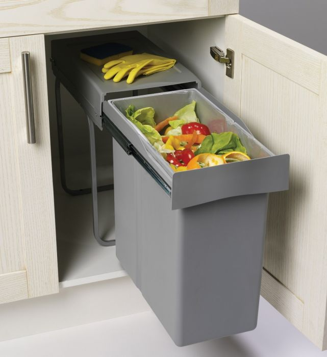 Single Compartment 40L Waste Bin : 300mm Door