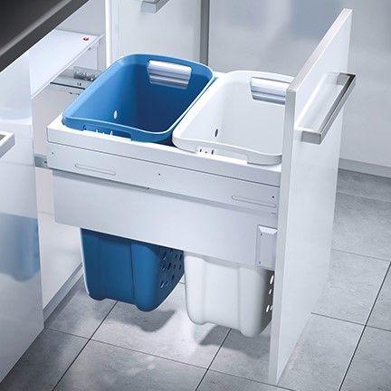 2 Compartment Built in Laundry Bin 66L: 450mm Door