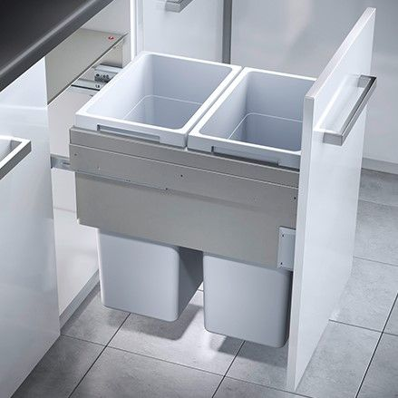 Euro Cargo 2 Compartment 76L Recycler Light Grey: 500mm Door
