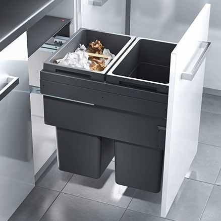 Euro Cargo 2 Compartment 76L Recycler Dark Grey: 500mm Door