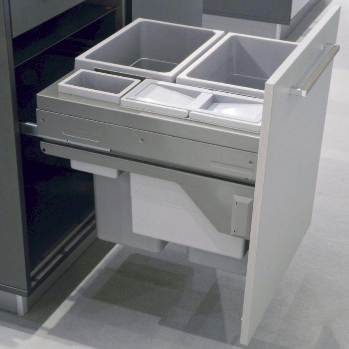 Euro Cargo 4 Compartment 90L Recycler Light Grey : 600mm Door