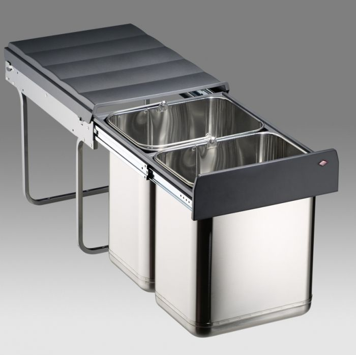 Master Stainless Steel 40L 2-Compartment Recycler 787WS914-42: 400mm Door