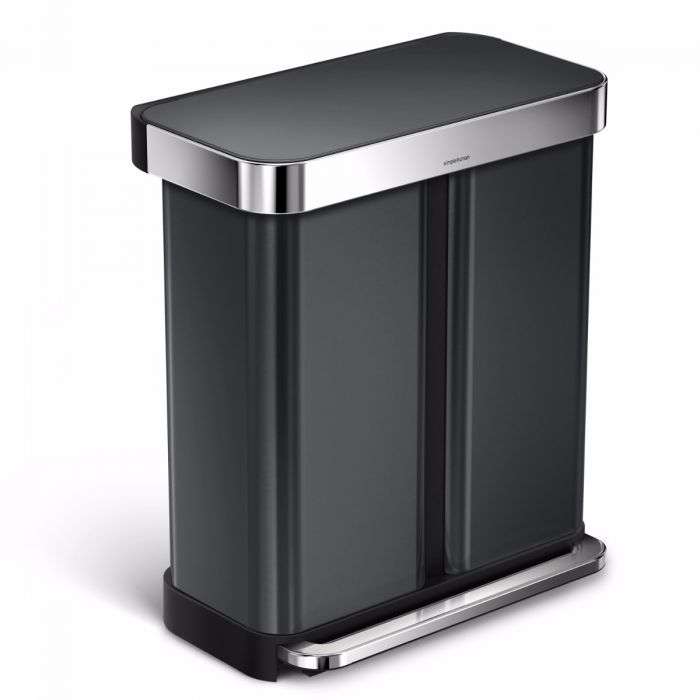 2-Compartment 58L Liner Pocket Recycling Bin - Black Steel - CW2054