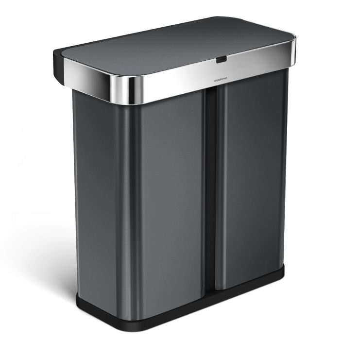Dual Voice & Motion Sensor Recycling Bin 58L Black Steel - ST2030