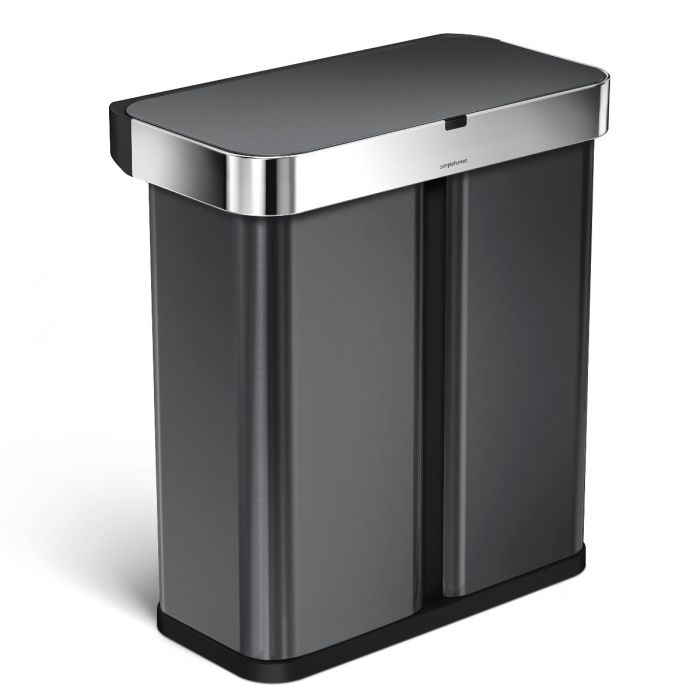 2-Compartment Voice & Motion Sensor Recycling Bin 58L Black Steel - ST2040