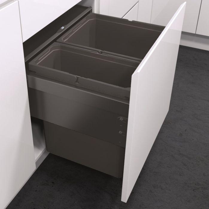 ES-Pro 2-Compartment 60L Recycler - Lava Grey : 600mm Door