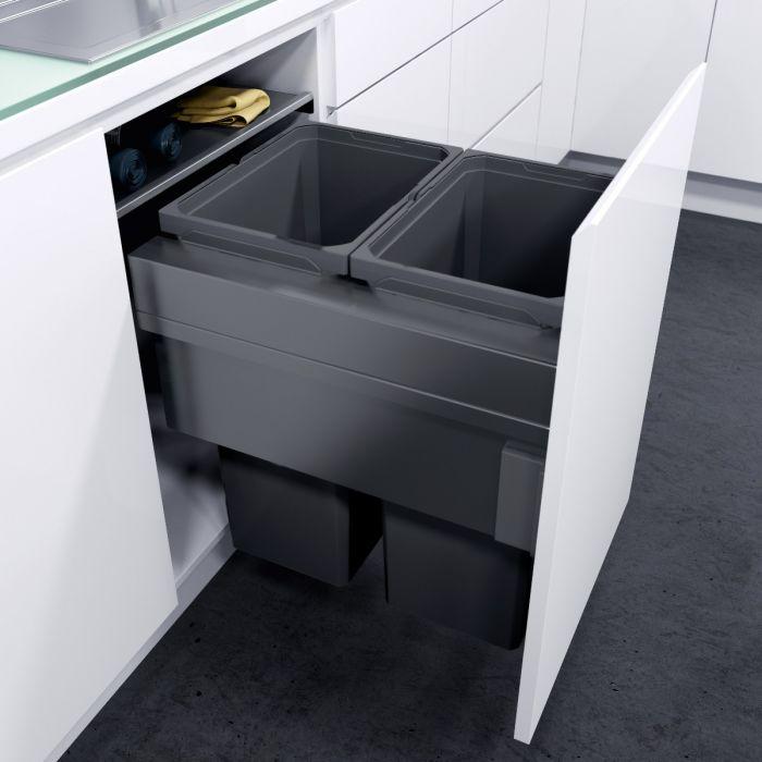 ES-Pro 2-Compartment 64L Recycler - Lava Grey: 500mm Door