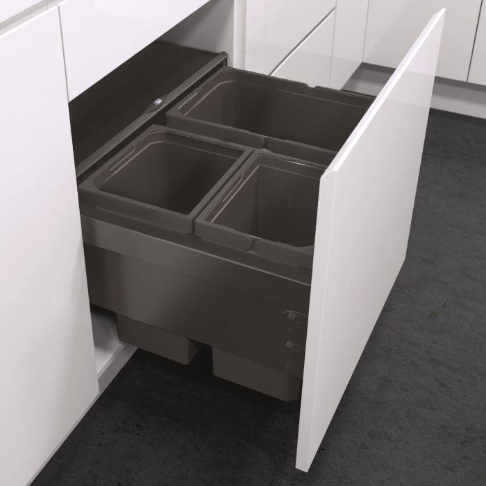 ES-Pro 3-Compartment 53L Recycler  - Lava Grey : 600mm Door