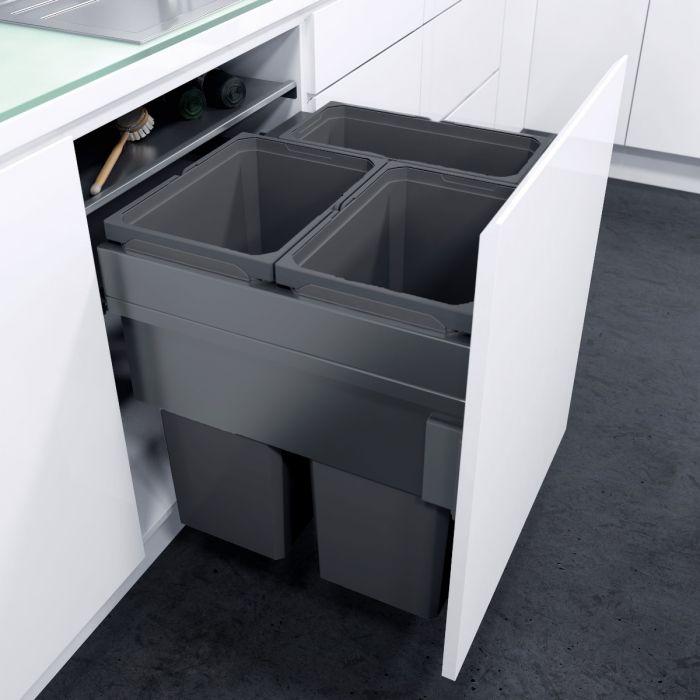 ES-Pro 3-Compartment 91L Recycler : 600mm Door - Lava Grey