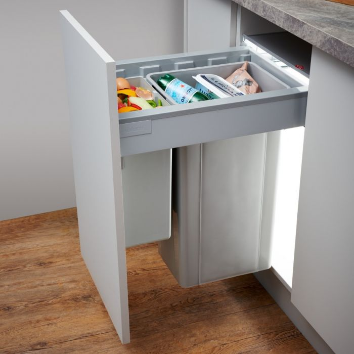 RECYCLE BIN PULL OUT KITCHEN WASTE BIN FOR 300MM UNIT 30 LTR SOFT CLOSE SLIDES 1 x 10L 1 X 20L